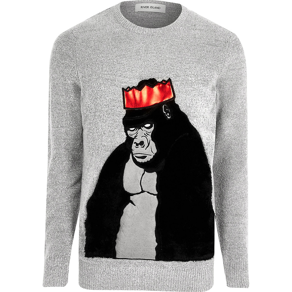 Grey Christmas faux fur gorilla sweater