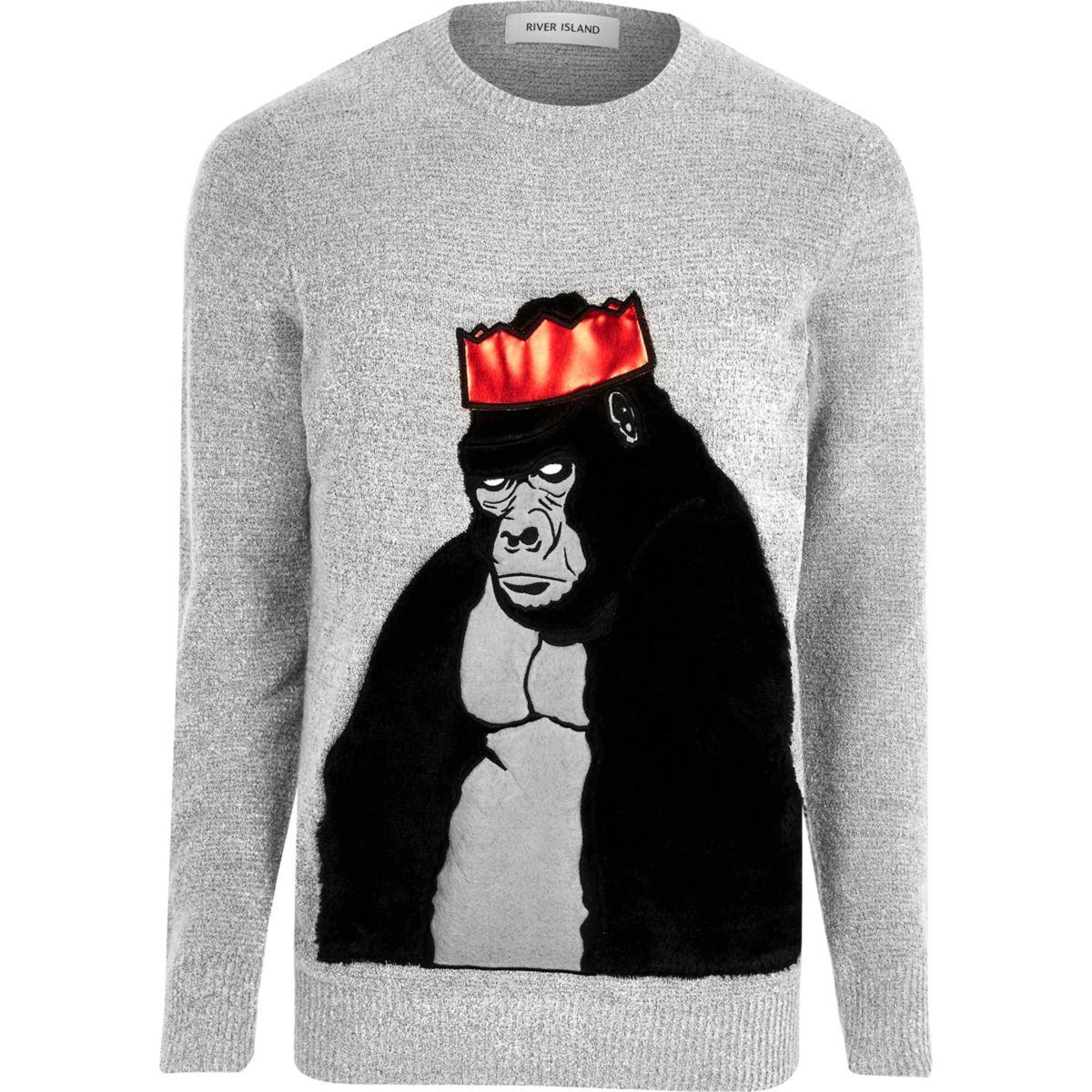 Grey Christmas faux fur gorilla jumper
