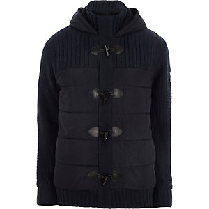 Navy padded rib knit hooded duffle jacket