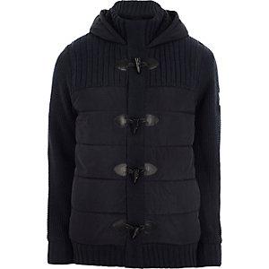 Veste style duffle-coat matelassée en maille côtelée bleu marine à capuche
