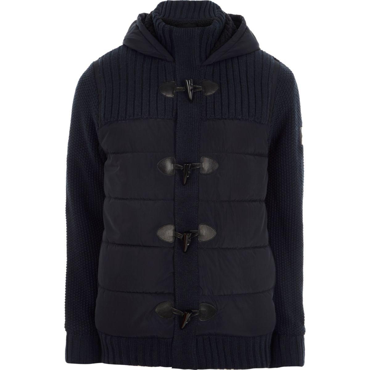 Navy padded rib knit hooded duffle jacket