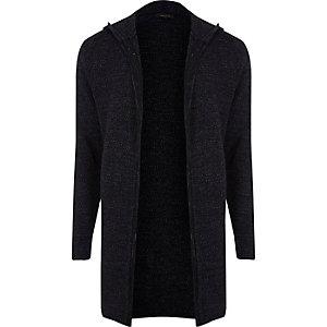 Cardigan en tricot bleu marine à capuche