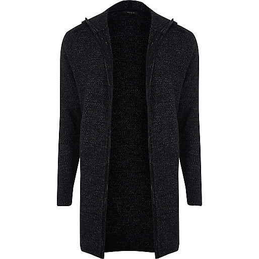 Navy hooded knit cardigan