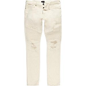 Sid - Witte skinny jeans met bikerpaneel