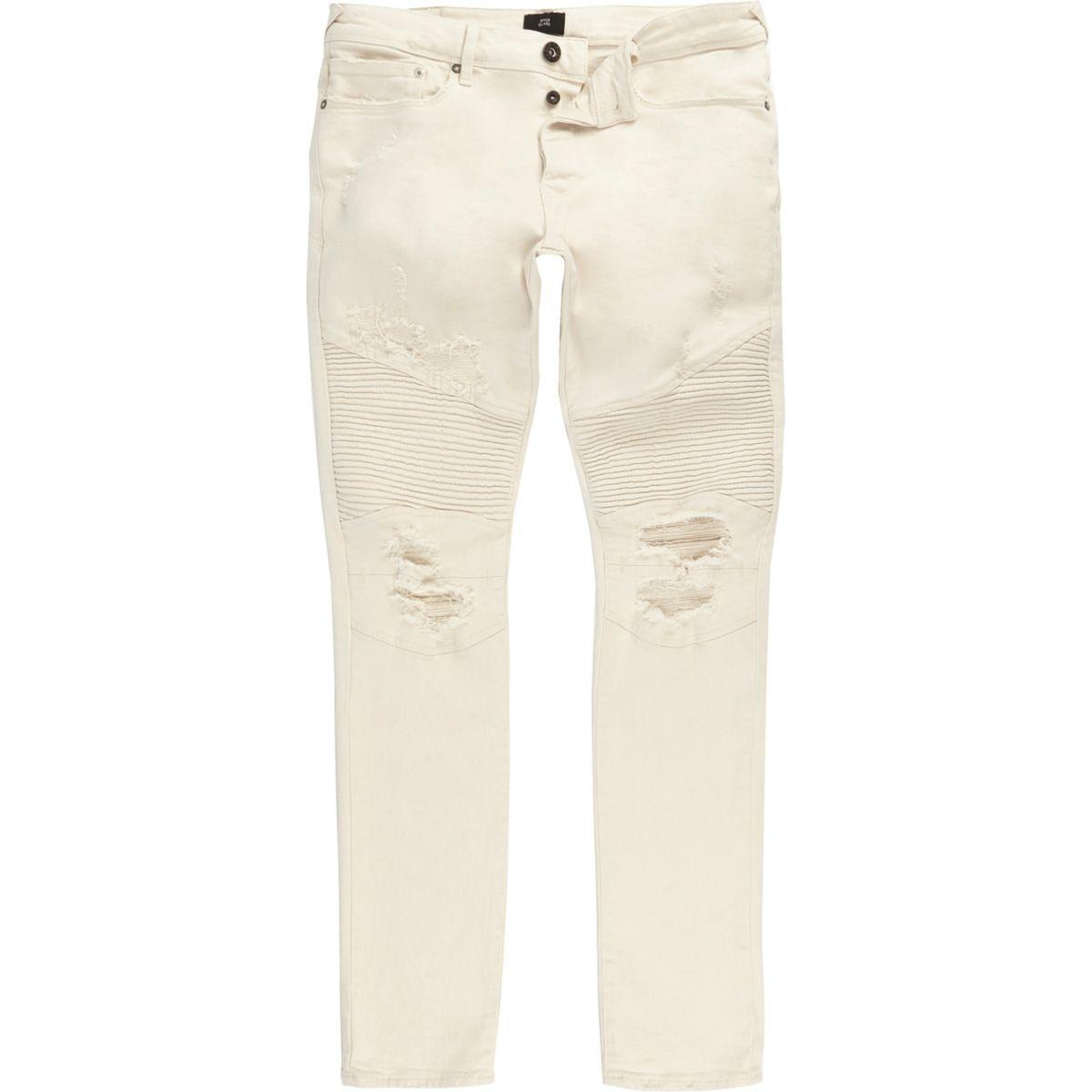 White biker panel Sid skinny jeans