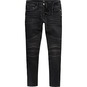 Black washed Sid biker skinny jeans