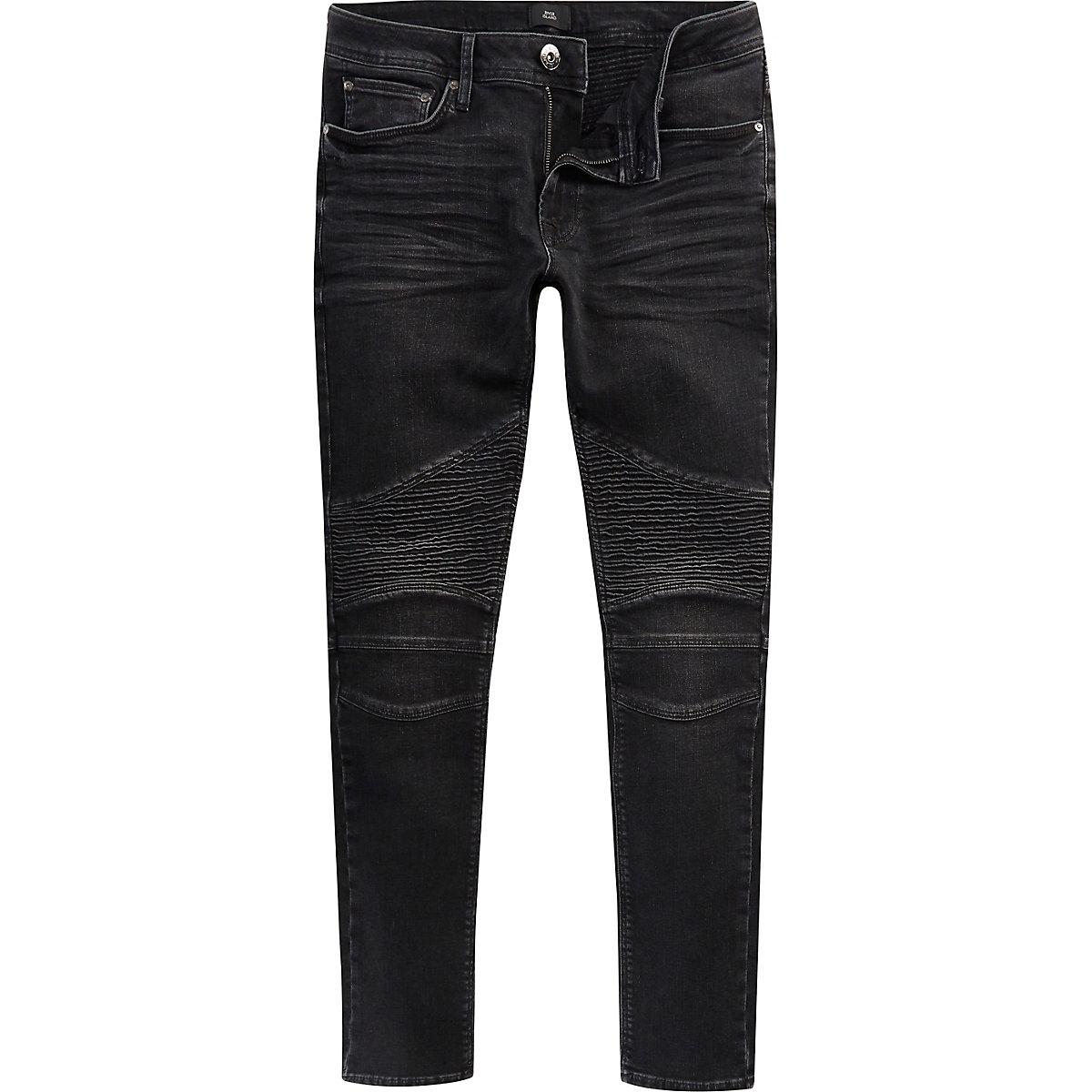 Black washed Sid biker skinny jeans