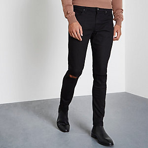 Schwarze Skinny Fit Jeans im Used-Look