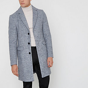 Manteau habillé en laine gris
