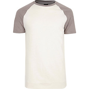 Cream short raglan sleeve slim fit T-shirt