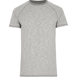 Grey marl short sleeve raglan T-shirt