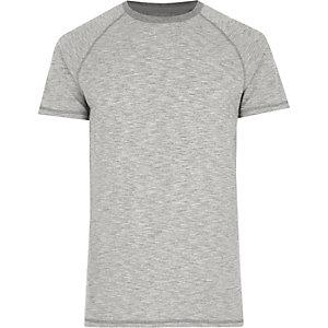 T-shirt gris chiné à manches courtes raglan
