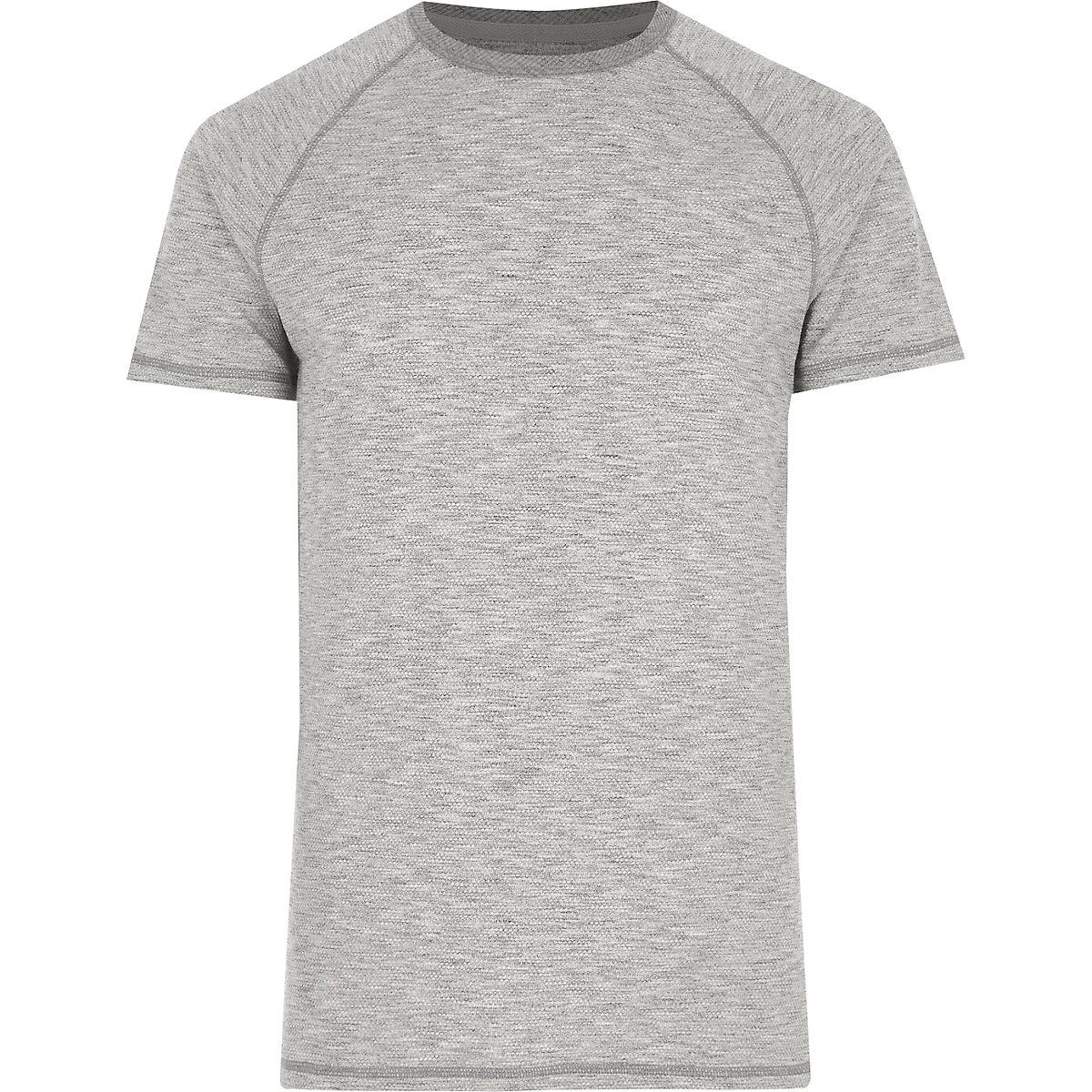 Grey marl short sleeve raglan T-shirt