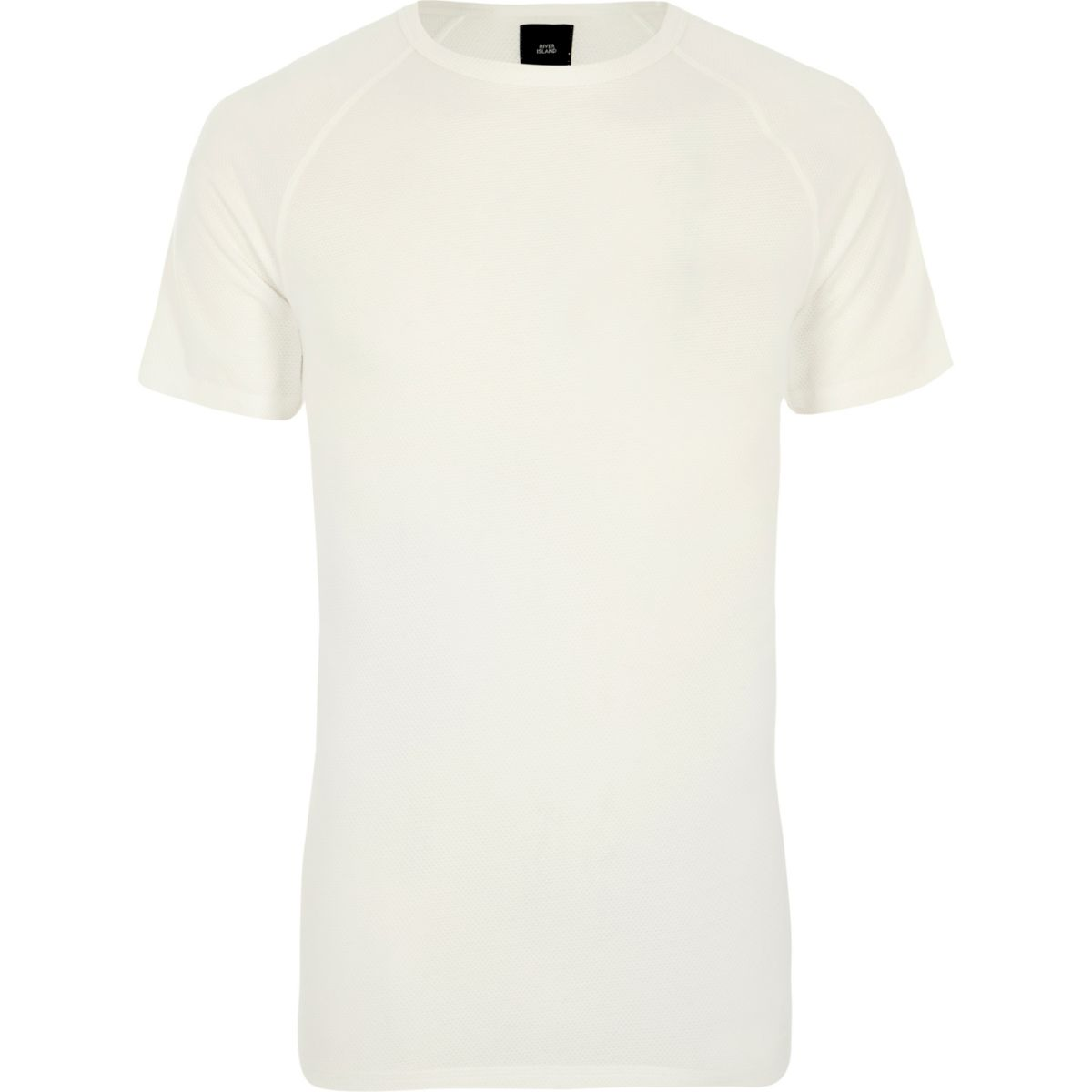 Cream pique slim fit raglan T-shirt