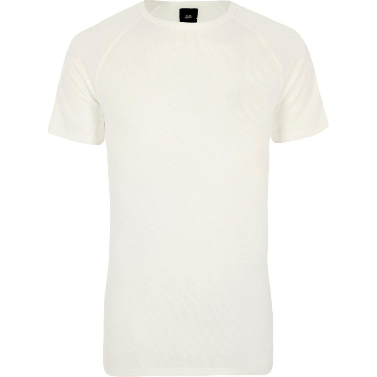 Cream pique slim fit raglan T-shirt