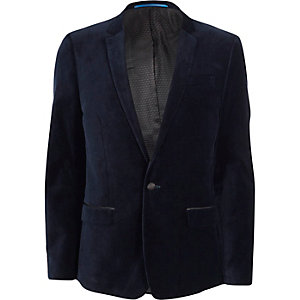 Navy skinny fit velvet suit jacket