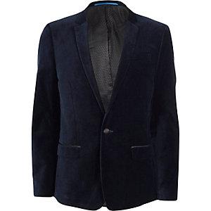 Veste de costume skinny en velours bleu marine