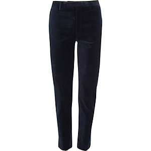 Pantalon de costume skinny en velours bleu marine