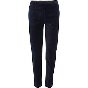 Marineblauwe skinny-fit fluwelen pantalon