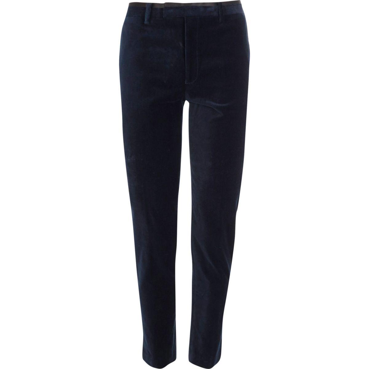 Navy skinny fit velvet suit trousers