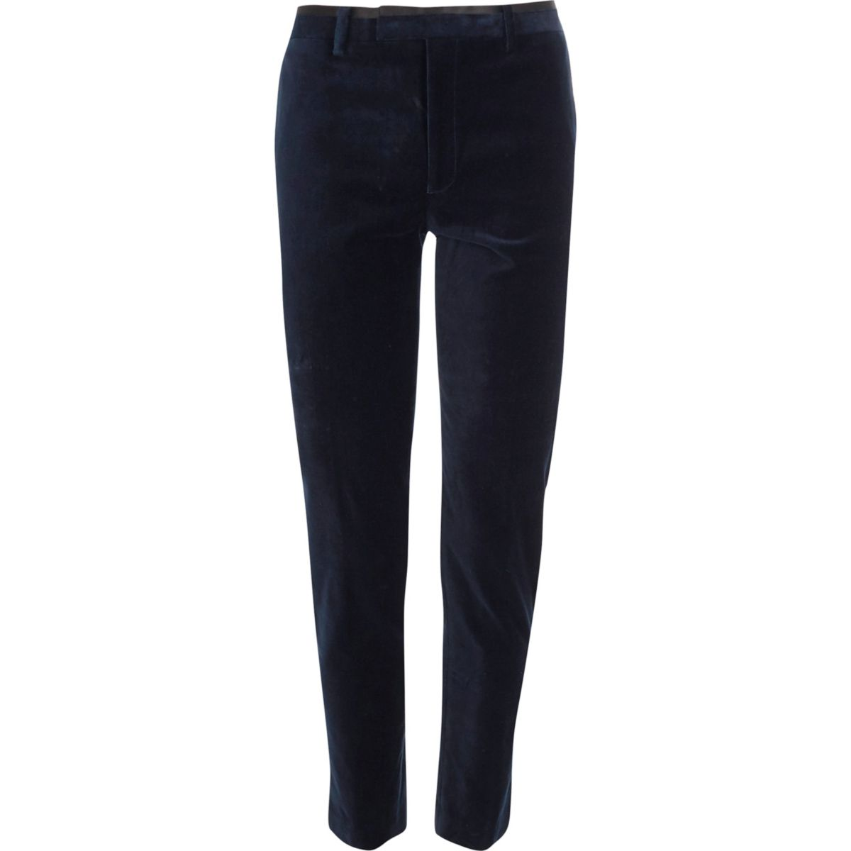 Navy skinny fit velvet suit pants