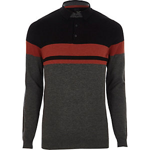 Dark grey stripe knitted polo shirt