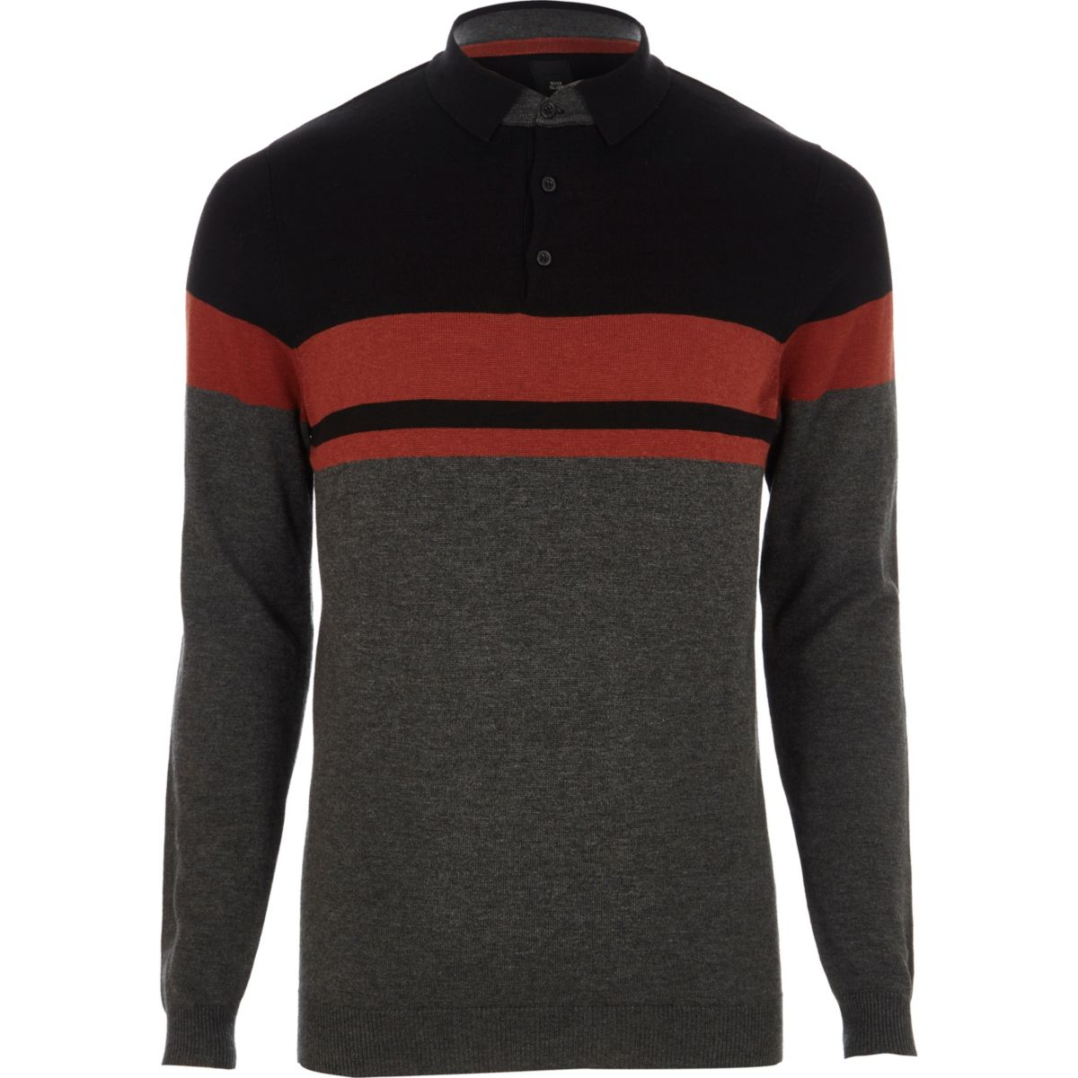 Dark grey stripe knitted polo shirt