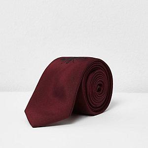 Bordeauxrode geborduurde stropdas met bijenprint