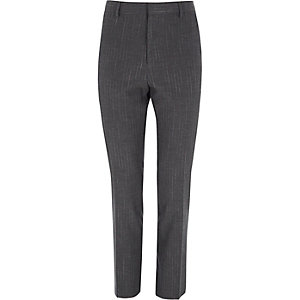 Grey stripe skinny suit trousers