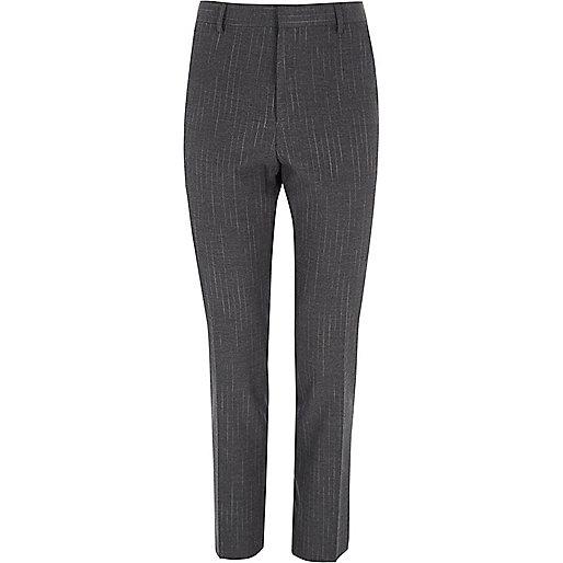 Grey stripe skinny suit pants