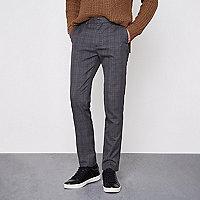 Pantalon skinny habillé à carreaux gris