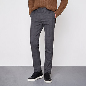 Grey check skinny fit smart pants
