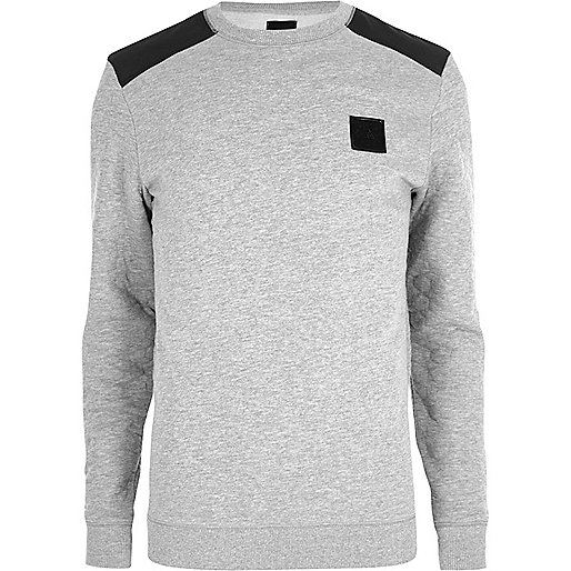 Marl grey contrast quilted patch jumper