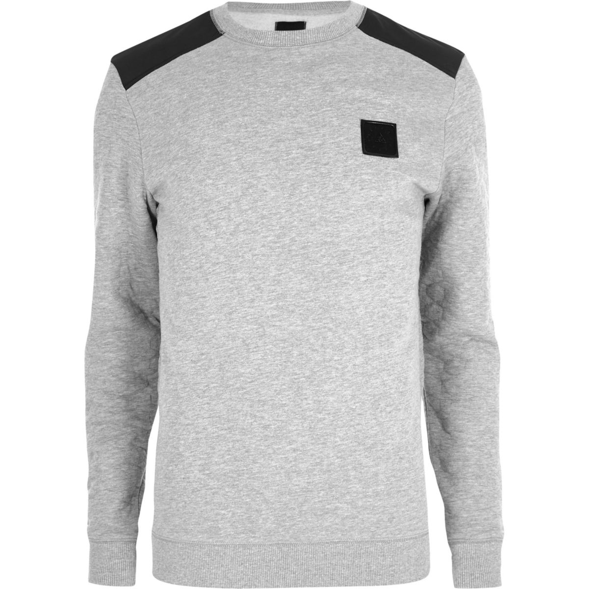 Marl grey contrast quilted patch sweatshirt