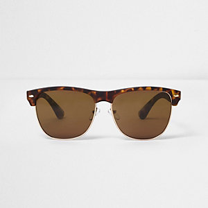 Bruine tortoise retro zonnebril met gekleurde glazen