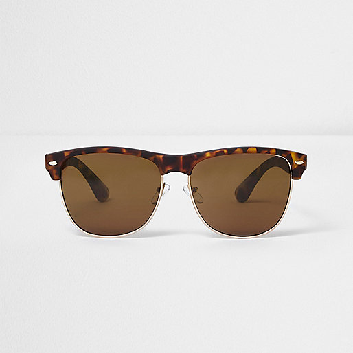Brown tortoiseshell tinted retro sunglasses