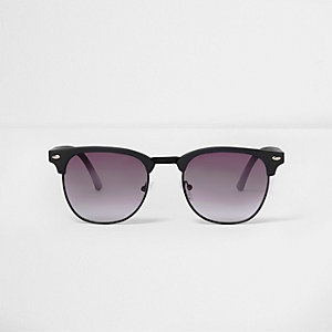 Navy rubber frames retro sunglasses