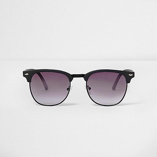 Navy rubber frames retro sunglasses