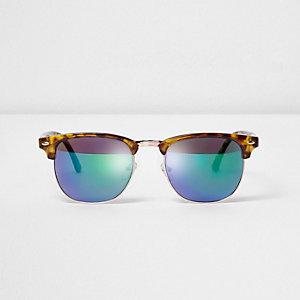 Bruine tortoise retro-zonnebril met oceaaneffect