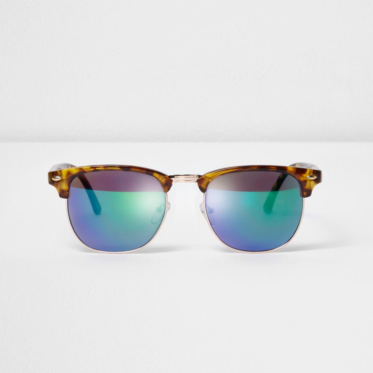 Lunettes de soleil rétro écaille de tortue marron