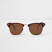 Brown and gold tortoiseshell retro sunglasses