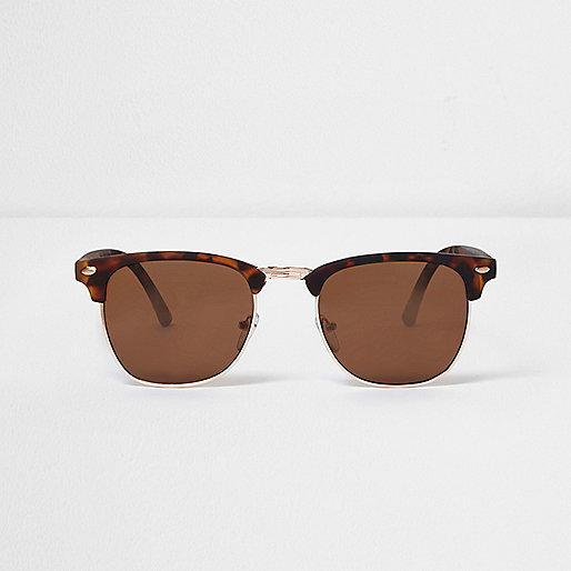 Brown and gold tortoiseshell retro sunglasses