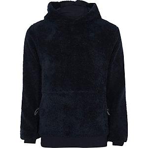 Marineblauwe fleece hoodie