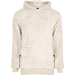 Kiezelkleurige fleece hoodie
