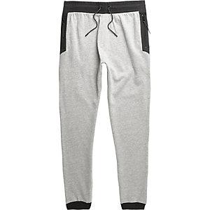 Pantalon de jogging gris chiné à bordures contrastantes