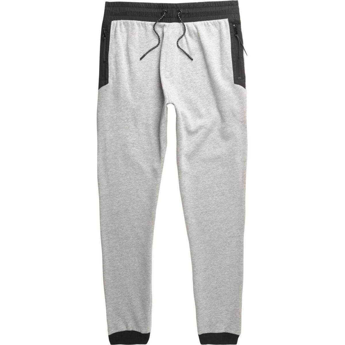 Marl grey contrast trims joggers