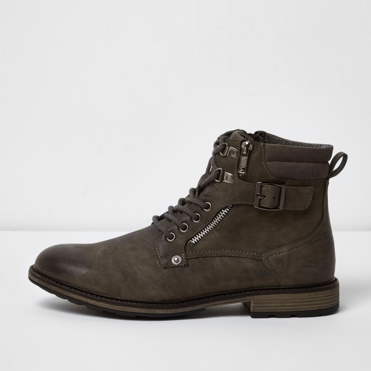 Grey military boots