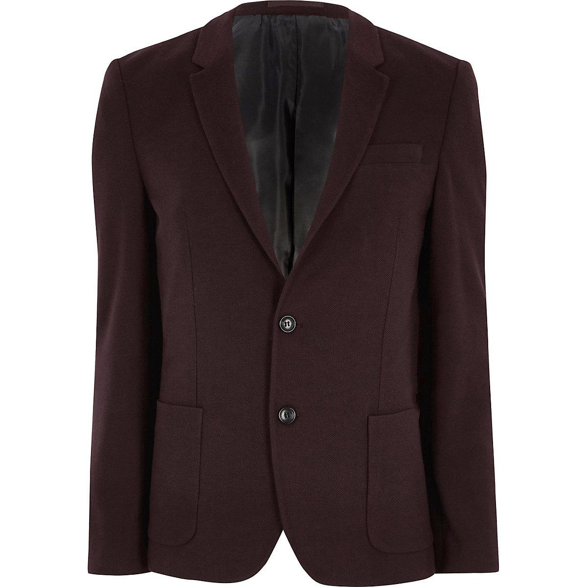 Burgundy skinny fit jersey blazer