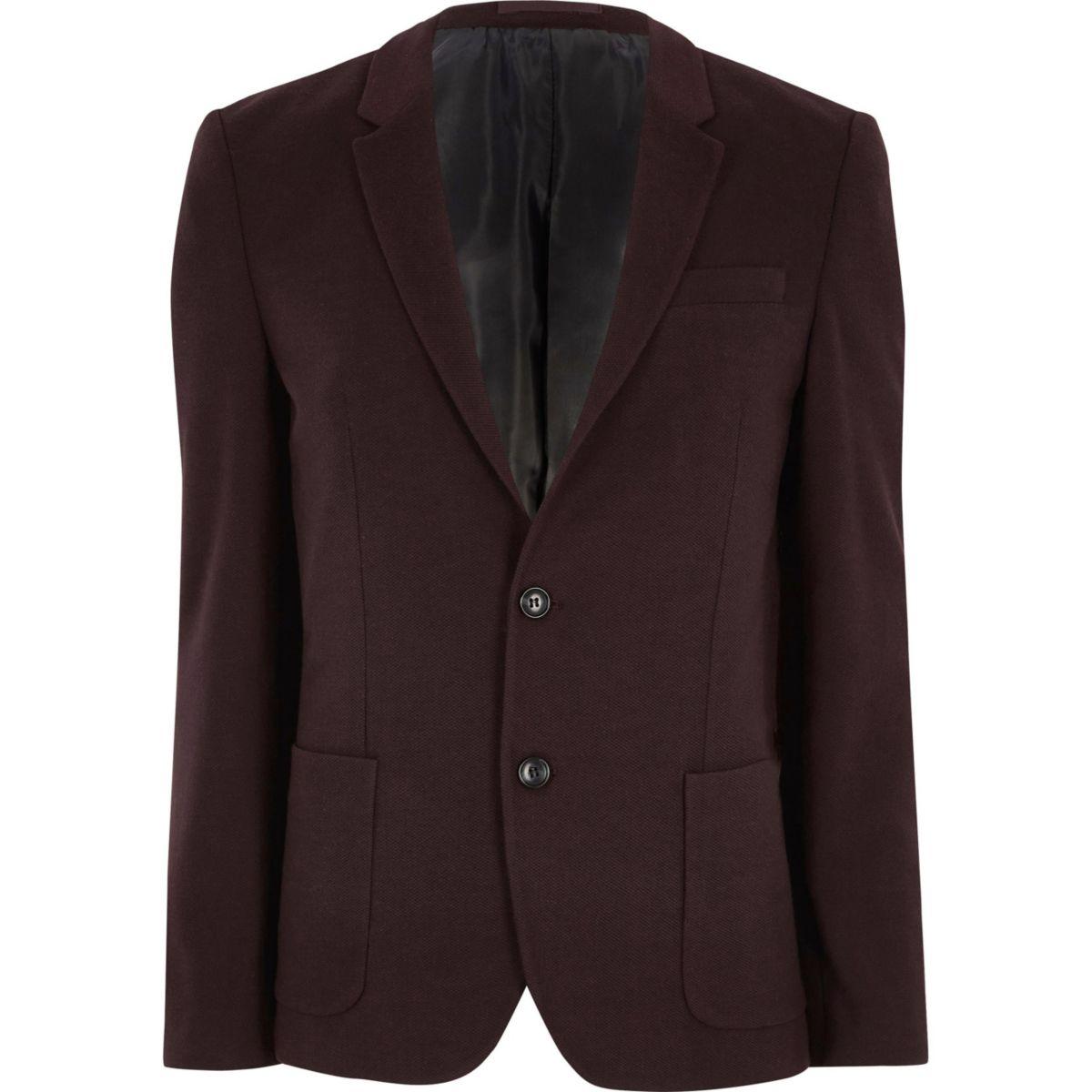 Bordeauxrode skinny-fit jersey blazer