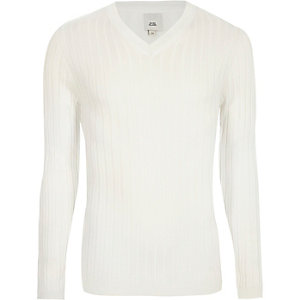 Cream rib muscle fit V neck sweater